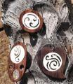 9920180 Bone and wood earrings